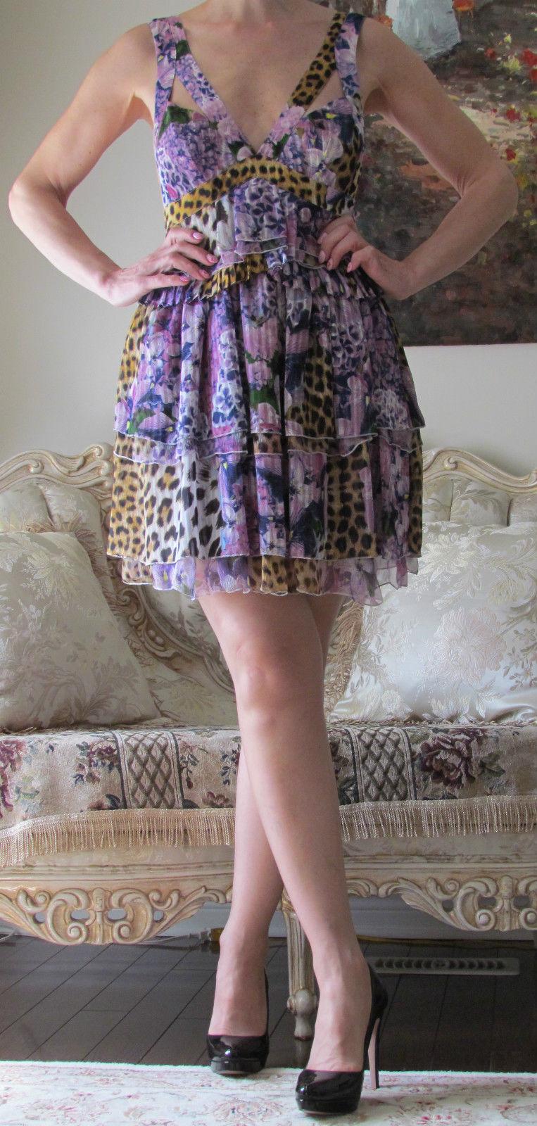 Roberto JUST CAVALLI Leopard Floral Print,Multicoloured Dress IT40,US IT40,US IT40,US 2-6,XS-S ccf408