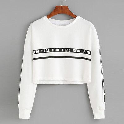 Women Hoodie Sweatshirt Jumper Sweater Crop Top Print Coat Sports Pullover Tops