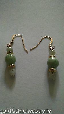 Jade Jadeite Gold Earrings Green 100% A Grade Natural Jade