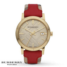 Burberry Watch Unisex The City Collection Red Leather Beige Date Dial BU9017