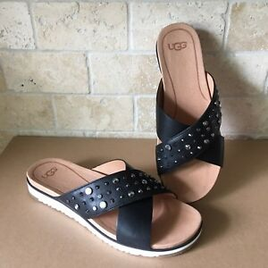 b275e1ee69f Details about UGG KARI STUDDED BLING BLACK LEATHER SLIDE SANDALS SIZE US  6.5 WOMENS