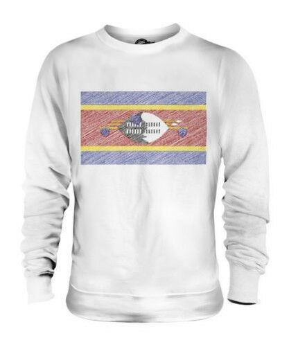 Swasiland Scribble Flag Unisex Pullover Top Geschenk Swazi Fußball