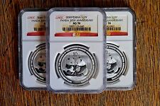 2009  NGC MS 70 China Silver Panda 1 oz 30th Anniversary Commemorative Coin
