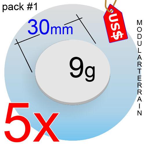 5x ROUND CLEAR ACRYLIC BASE 30mm CIRCLE DISC INFINITY WAR HAMMER WARGAMING USD