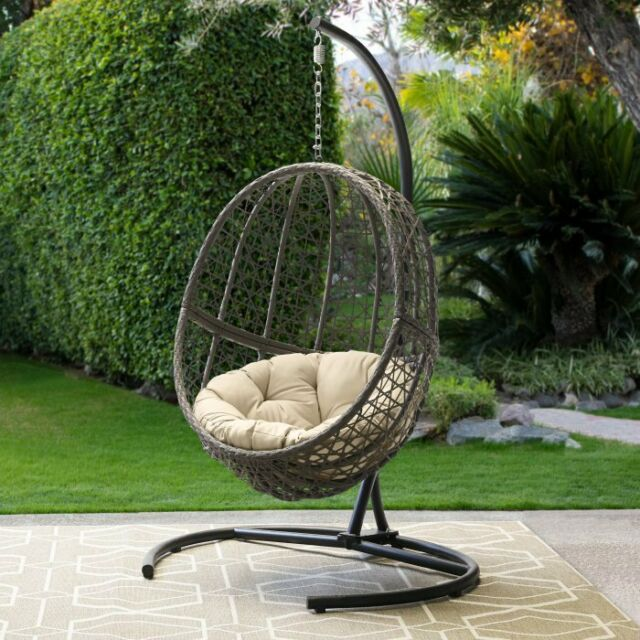 Remarkable Hanging Egg Chair With Stand And Cushion Outdoor Patio Porch Wicker Swing Seat Frankydiablos Diy Chair Ideas Frankydiabloscom