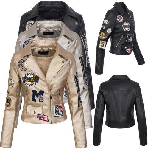 Da Donna ecopelle Giacca Biker Giacca Ecopelle piloti giacca transizione giacca d-211
