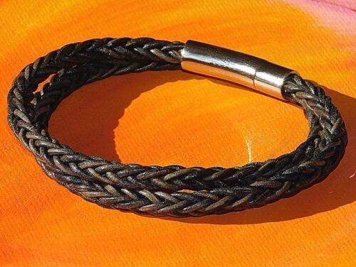 Mens//Ladies 4mm Grey-Brown leather /& stainless steel bracelet by Lyme Bay Art