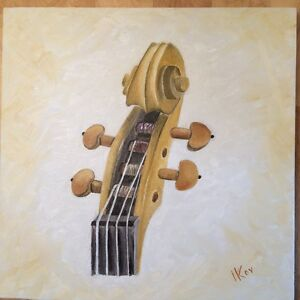 Violin-Scroll-Original-Oil-Painting-on-Canvas-12x12-Signed