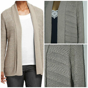 Marks & Spencer Ladies Stone Sparkle Medium knit Edge to Edge Cardigan Si...