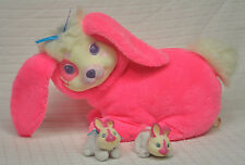 VTG 1993 Hasbro BUNNY Surprise HOT Pink PLUSH Rabbit w/ 2 BABY Boy & Girl Babies