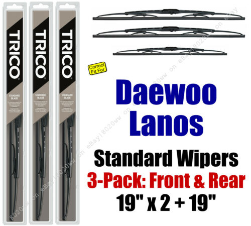 Wiper Blades 3pk Front Rear Standard fit 1999-2002 Daewoo Lanos 30190x2//190
