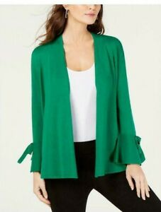 Details about ALFANI NEW Women's Tie sleeve Open Front Cardigan Sweater Top SIZE S LUSH MEADOW