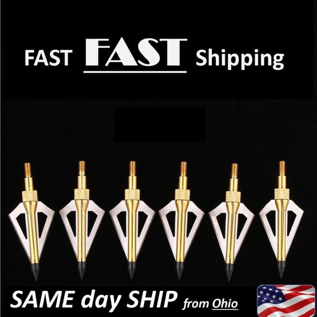 1//6//12//24 X Hunting Broadheads 100 Grain 3 Fix Blade Compound Bow Crossbow Tips