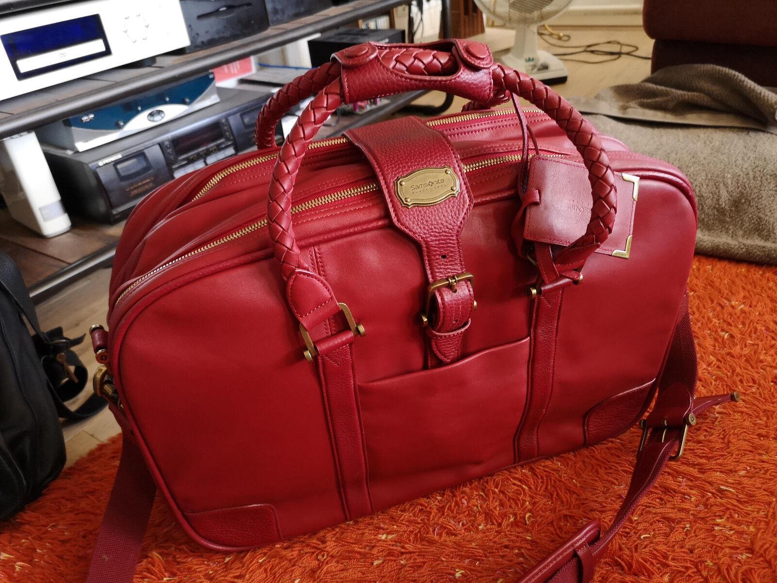 Samsonite, valise cabine en cuir, très haut de gamme, high quality rouge leather