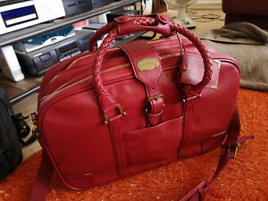 Samsonite-valise-cabine-en-cuir-tres-haut-de-gamme-high-quality-red-leather