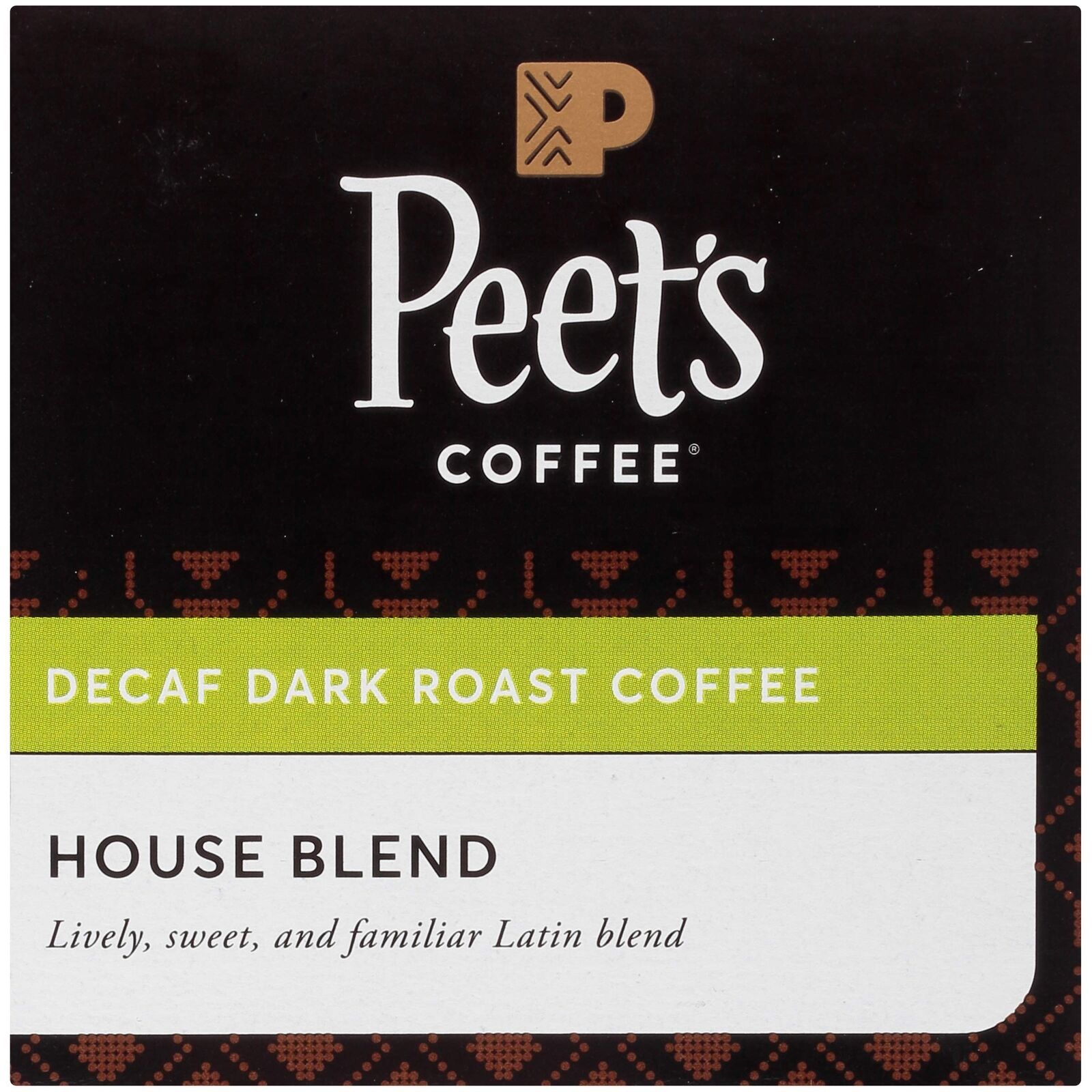Peets Coffee K Cups Decaf Dark Roast House Blend 10 Count Pods Pack Of 6