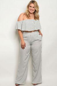 7d8d90656 Women's Plus Size White Pinstripe Cold Shoulder Crop Top and Pants ...