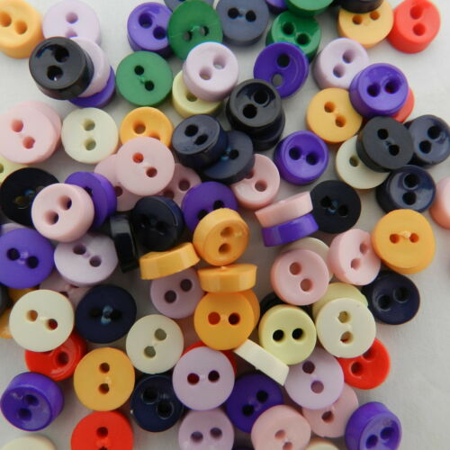 24 MINUSCULES Opaque doll boutons 6 mm noir rose violet gris bleu jaune vert
