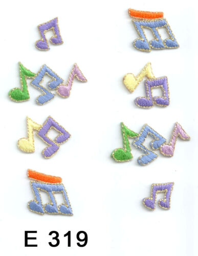 8PC~ MUSICAL NOTES~ IRON ON EMBROIDERED APPLIQUE PATCHES