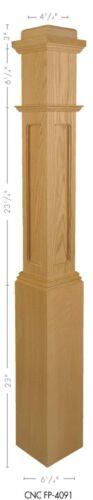 FP-4091 Flat Panel Amish Made Poplar Box Newel Post