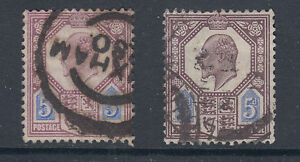Great Britain Sc 134, 134a used 1902 5p KEVII, 2 shades, F-VF