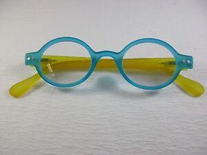 Details about ROUND SOFT MATTE Rubber Flexible AQUA & LEMON Reading Glasses  +2 50