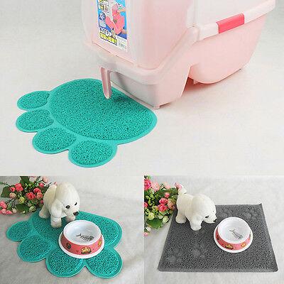 Dog Puppy Paw Shape Placemat Pet Cat Dish Bowl Feeding Food PVC Mat Wipe