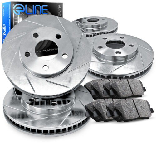 For 2004-2010 Toyota Sienna Front Rear Rear Slotted Brake Rotors+Ceramic Pads