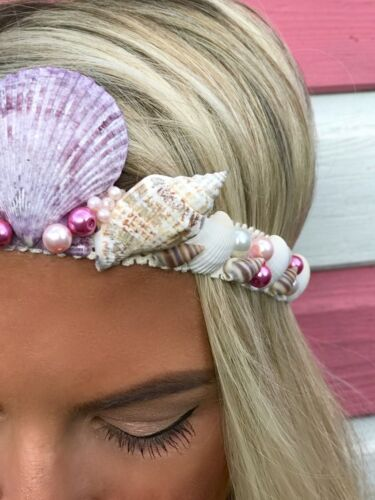Purple Pearl Ivory Sea Shell Mermaid Crown Hair Band Choochie Choo Beach Hippy