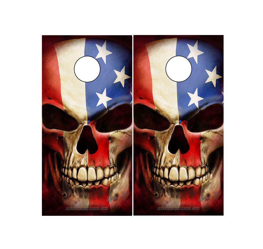 Cornhole Wraps - Patriot Skull American Flags - Set of 2 Adhesive Sheets  LG