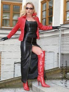 Knöchellang Xs Xxxl Rock Leder Lederrock 32 Größe 58 Schwarz Bqtwn0z