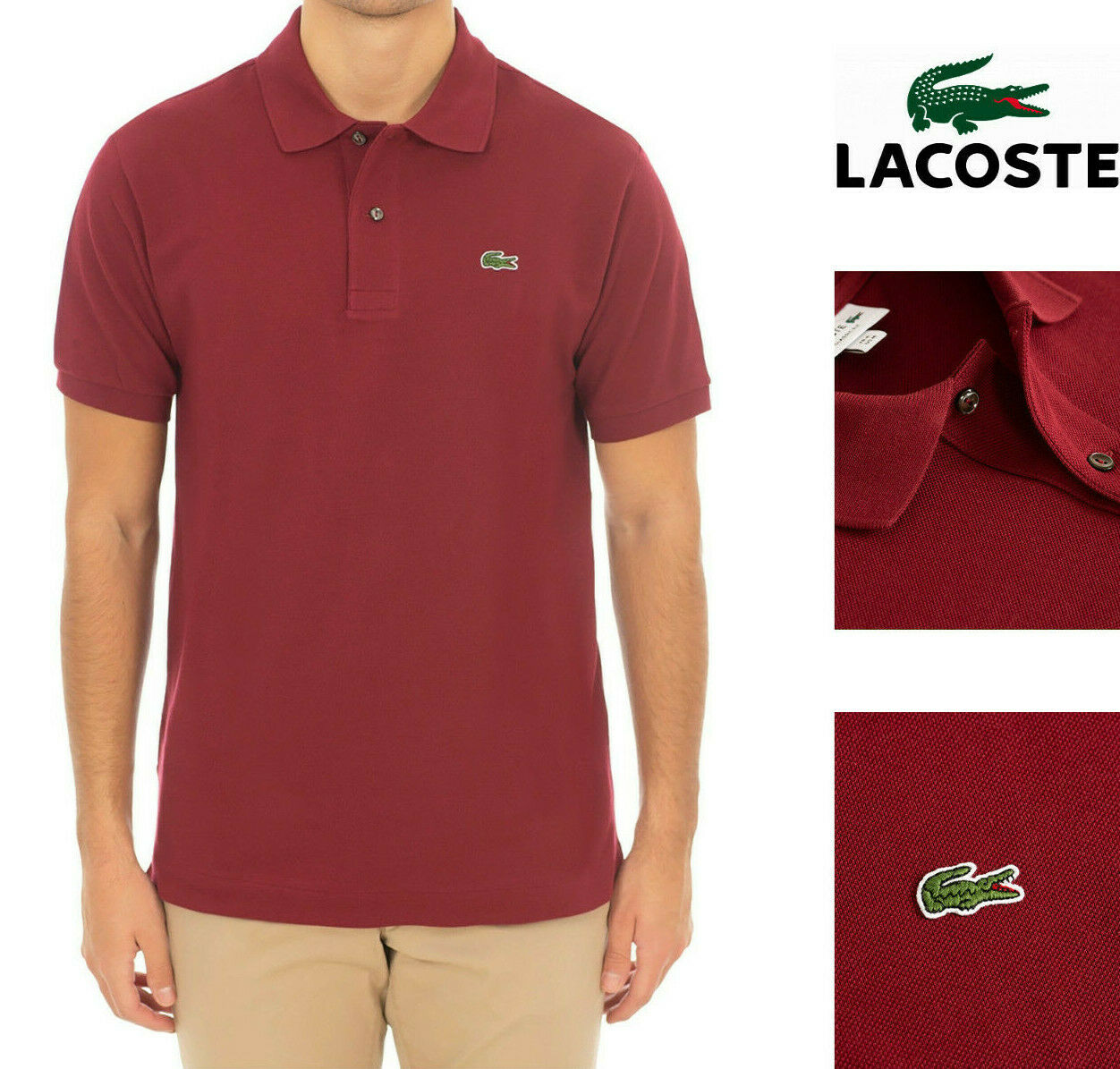 4e7477bae8 Mens Lacoste Polo Shirt Dark Classic Fit 100% Cotton NEW Pinot Red ...