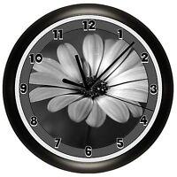 Daisy Wall Clock Gift Black And White Flower Pretty Decor Room Wall Art