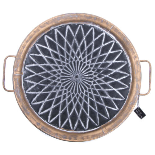 schwarz 55cm Deko-Teller mit Henkeln Ethno Vintage Metall Tablett antikgold