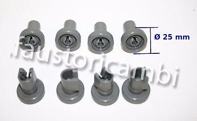 8 Lavastoviglie Cestello Superiore Ruote per ZANUSSI AEG ELECTROLUX Tricity Bendix 25mm