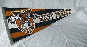 West-Point-Army-Flag-Pennant-1980-039-s-Black-Knights-Stripes-Gold-Military-Vintage