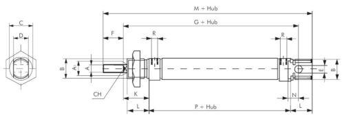Kolben Pneumatik Rundzylinder ISO Kleinzylinder Kolben-Ø 12 mm einfachwirkend
