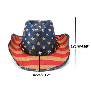 Women-Men-Straw-Western-Sombrero-Cowboy-Hats-Cowgirl-Caps-American-Flag-58CM-UK