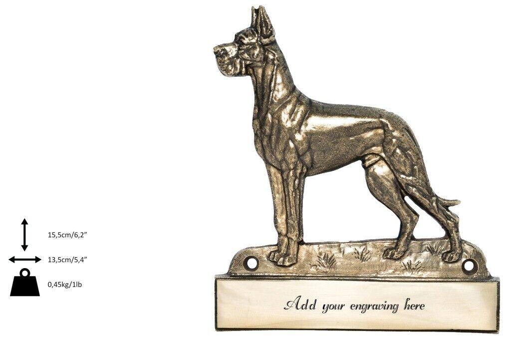 Alano tedesco - iscrizione in ottone 'WELCOME', incisore Art Dog IT