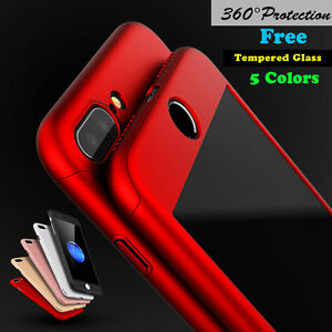 360 Protective Hard Thin Case Cover Tempered Glass For Apple iPhone 6 6S 7 Plus