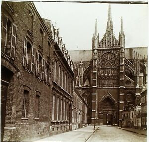 FRANCE-Amiens-Rue-et-Cathedrale-Photo-Stereo-Plaque-Verre