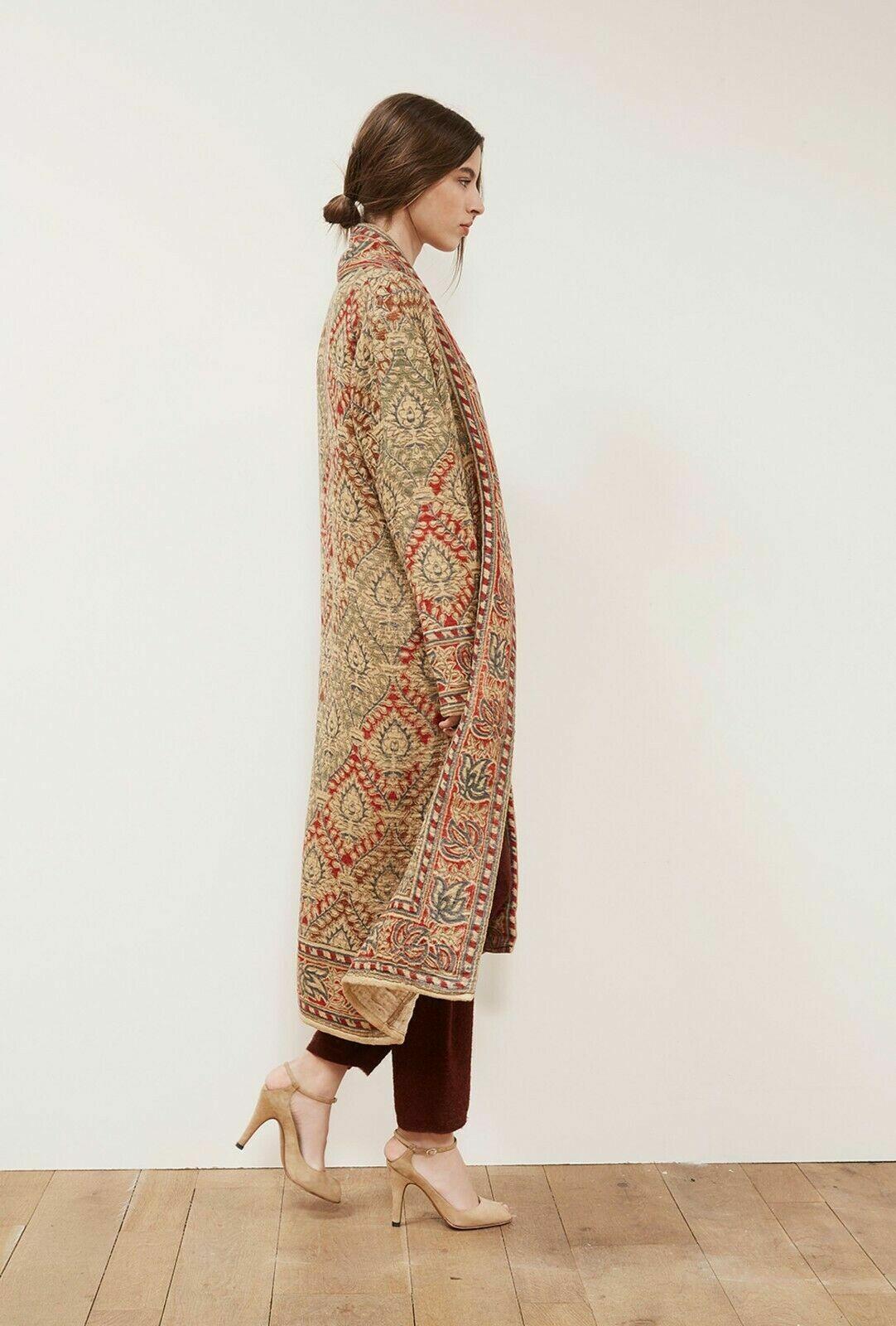 Mes Demoiselles Paris Natural Kilim Floral Print Coat Long Sleeve Dress Size 2