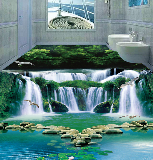 3D Waterfall Forest Bird 45 Floor WallPaper Murals Wall Print Decal AJ WALLPAPER