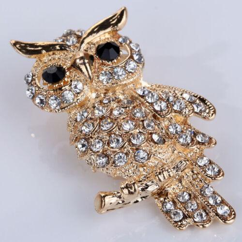 Or plaquée hibou cristal brillant Lady bijoux broches strass K5