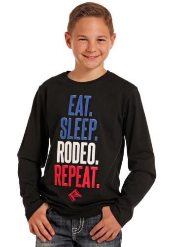 Rock /& Roll Cowboy Boys/' Eat Sleep Rodeo Repeat Long Sleeve Tee P4T4009