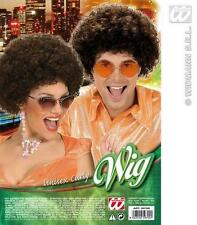 Unisex Brown Curly Afro Wig Hippy Clown 70'S Retro Fancy Dress