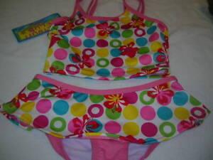 Swim-Suit-Size-SM-6-6X-Girl-039-s-pink-floral-2-Piece-bathing-suit-dots-T33