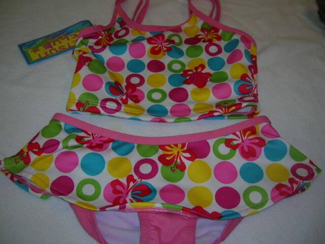 Girl's Multi color floral Two Piece Swim Suit Size SM 6/6X T33