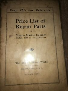 Details about MIANUS MARINE ENGINE 1908-1912 REPAIR PARTS PRICE LIST