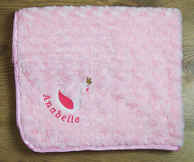 Personalised Embroidered Luxury Baby Blanket Soft Fluffy Cosy Rocking Horse Gift